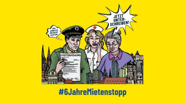 Karikatur zum Volksbegehren 6 Jahre Mietenstopp