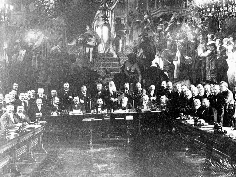 Münchner Gemeindekollegium im Saal des Neuen Rathauses 1900 mit Georg Birk
