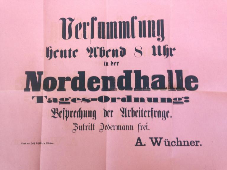 Mit diesem Plakat wurde zur Versammlung am 1. März 1869 eingeladen