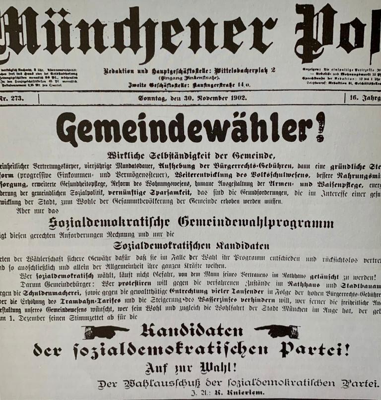 Wahlaufruf in der Münchener Post vom 30.11.1902